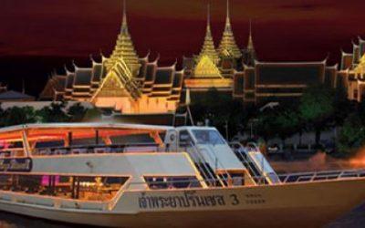 Schifffahrt mit Abendessen Chao paya Fluss